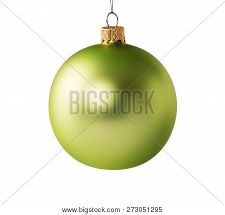 Bright Beautiful Green Christmas Ball For A Christmas Fir-tree Isolated On White Background