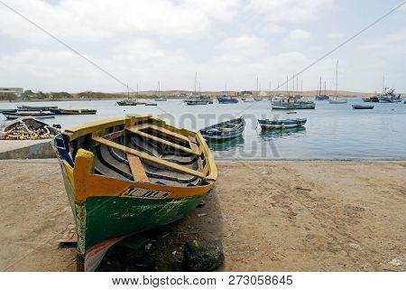Palmeira, Sal, Cabo Verde - Cape Verde, África - August 22, 2018. Palmeira Fishing Village, Sal, Cab
