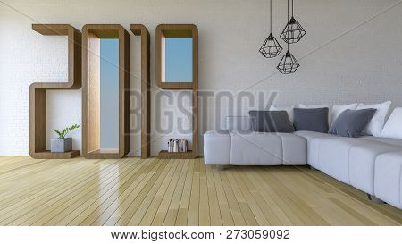 3d Rendering Image Of 2019 Wooden Shelf On White Brick Wall. White Sofa Set On The Wooden Floor. Bac