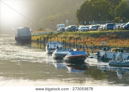 Wehlen, Germany - October 04, 2018: Boats On The Banks Of The City Wehlen On The Elbe River In The E