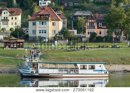 Wehlen, Germany - October 04, 2018: Popular Ferry Service To The Town Of Wehlen On The Banks Of The