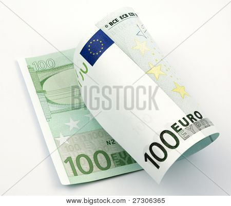 one banknote 100 euro isolated on white