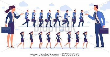Set Of  Flat Design Man And  Woman Character Animation Poses - Speaking, Shopping, Talking Phone, Ar