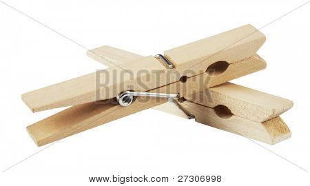 clothespin ,isolated on white with clipping path