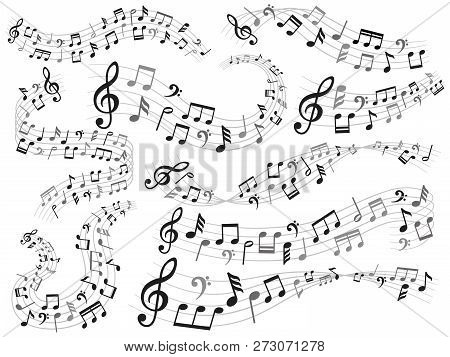 Musical Notes. Music Note Swirl, Melody Pattern And Sound Waves With Notes Vector Illustration Set