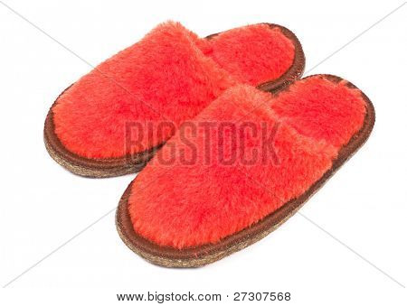 Fur house  slippers isolated on white background poster