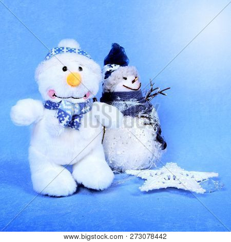 Christmas Two Snowman For Design Xmas Cards