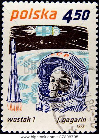 POLAND - CIRCA 1979: A stamp printed in Poland shows first-ever cosmonaut Jury Gagarin, circa 1979 Series
