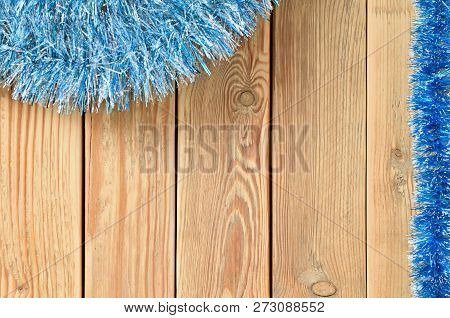Christmas Background With Decorations On Wooden Board With Copy Space For Text. New Year Theme For T