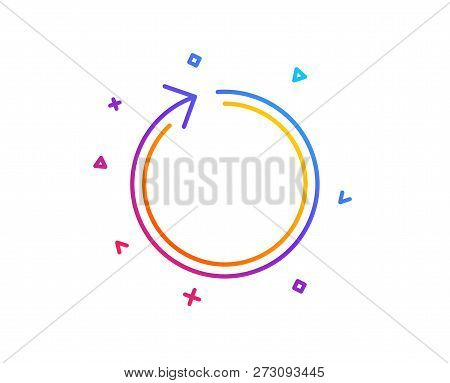 Loop arrow line icon. Refresh Arrowhead symbol. Navigation pointer sign. Gradient line button. Loop icon design. Colorful geometric shapes. Vector poster