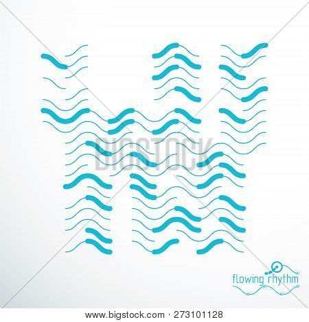 Futuristic Abstract Vector Technology Background. Abstract Wavy Lines Pattern, Art Graphic Illustrat