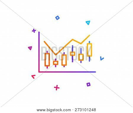 Candlestick Chart Line Icon. Financial Graph Sign. Stock Exchange Symbol. Business Investment. Gradi