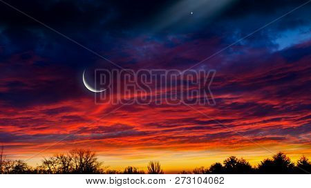 Light From Sky . Religion Background . The Sky At Night With Stars. New Moon . Ramadan Background .