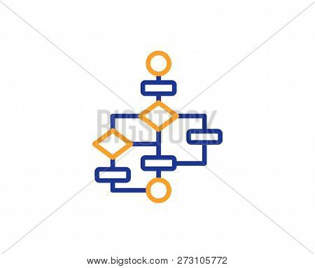 Block Diagram Line Icon. Path Scheme Sign. Algorithm Symbol. Colorful Outline Concept. Blue And Oran