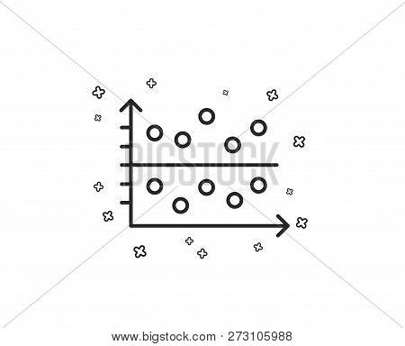 dot plot graph line icon  presentation chart sign  market analytics symbol   geometric shapes