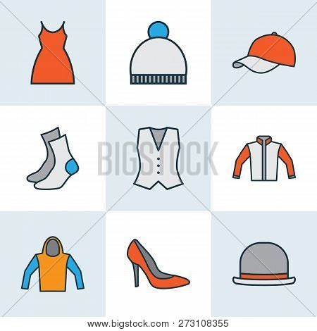 Garment Icons Colored Line Set With Hat, Pompom, Shoe And Other Dress Elements. Isolated Vector Illu