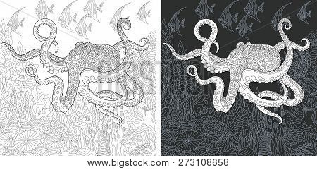 Coloring Page. Coloring Book. Colouring Picture With Octopus Drawn In Zentangle Style. Antistress Fr