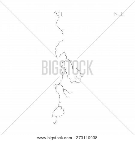 Map Of Nile River Drainage Basin. Simple Thin Outline Vector Illustration