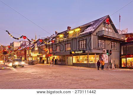 Tromso City Street. Christmas Street Of Tromso City. Norway, December 2011