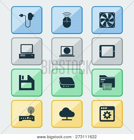 Device Icons Set With Control Device, Tablet, Floppy Disk And Other Plug Elements. Isolated  Illustr