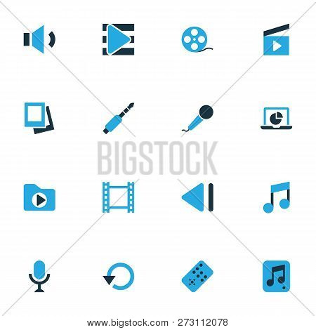 Multimedia Icons Colored Set With Replay, Slow Backward, Clapperboard And Other Audio Elements. Isol