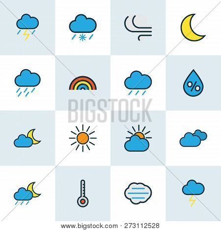 Climate Icons Colored Line Set With Midnight, Frosty, Cloudy Day And Other Sunshine Elements. Isolat