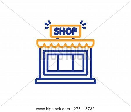 Shop Line Icon. Store Symbol. Shopping Building Sign. Colorful Outline Concept. Blue And Orange Thin