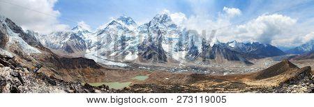Himalaya, Panoramic View Of Himalayas Mountains, Mount Everest With Beautiful Sky And Khumbu Glacier
