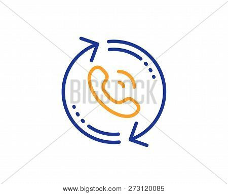 Call Center Service Line Icon. Recall Support Sign. Feedback Symbol. Colorful Outline Concept. Blue