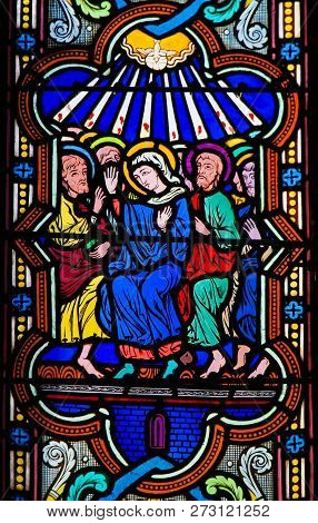 Mary And The Apostles At Pentecost - Stained Glass