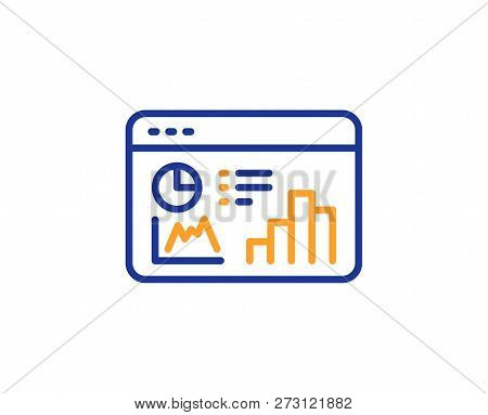 Seo Statistics Line Icon. Search Engine Optimization Sign. Analytics Chart Symbol. Colorful Outline