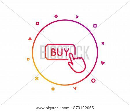 Click To Buy Line Icon. Online Shopping Sign. E-commerce Processing Symbol. Gradient Pattern Line Bu
