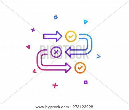 Survey Progress Line Icon. Quiz Algorithm Sign. Business Interview Symbol. Gradient Line Button. Sur