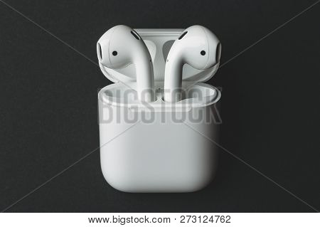Moscow, Russia - Circa December 2018: Apple Airpods - Wireless Bluetooth Earphones Or Headphones And
