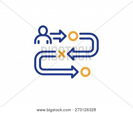 Journey Path Line Icon. Project Process Sign. Colorful Outline Concept. Blue And Orange Thin Line Co