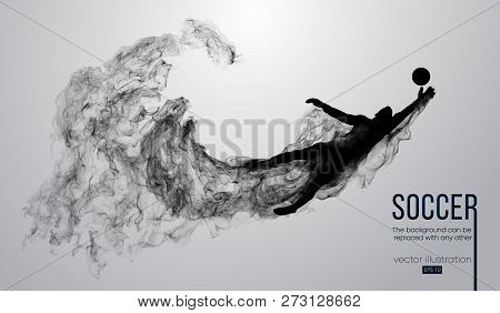 Abstract Silhouette Of A Football Player On The White Background From Particles. Soccer Player Runni