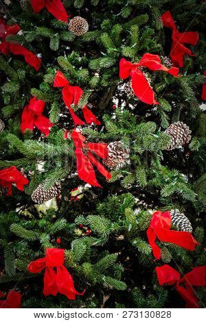 A Christmas Tree Decorated With Red Bows In San Diego, Ca.