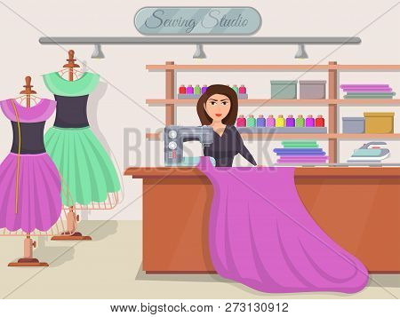 Sewing Studio Banner With Young Woman At Desk Of Tailor Shop. Dressmaker Woman Working With Sewing M