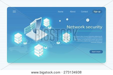 Network Data Security Isometric Vector. Cloud Data Center, Server Room, Information Request Processi