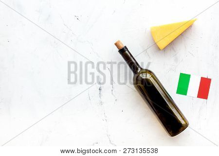 Gastronomical Tourism. Italian Food Symbols. Italian Flag, Cheese Parmesan And Bottle Of Red Wine On