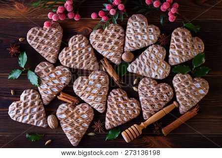 gingerbread hearts with spices - Christmas time