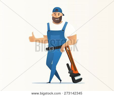 Vector Illustration Concept Plumber Service. Vector Image Cartoon Character Plumbing Based On Large