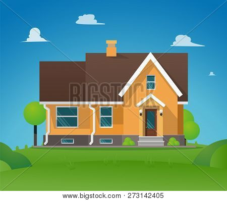 Vector Illustration Cartoon Residential Townhouse. Image Townhouse Background Blue Sky. Concept Life
