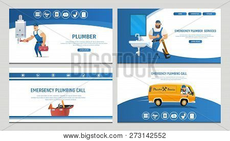 Vector Illustration Concept Page Plumber Service. Banner Vector Image Cartoon Set Web Page Plumbing