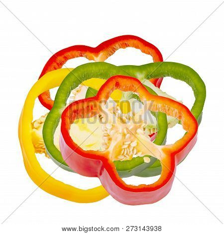 Colored Sweet Bell Pepper Slices Isolated On White Background