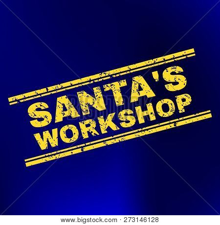 Grunge Santas Workshop Stamp Seal On Complex Gradient Background. Vector Santas Workshop Rubber Seal