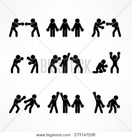 Boxing Stick Figures On White, Boxer Pictogram Icon, For Sport. Vector Illustration.