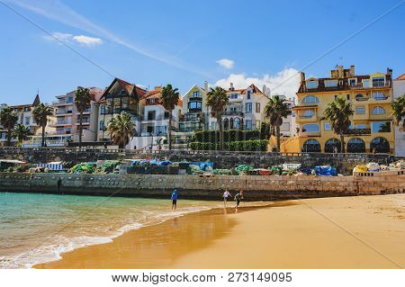 CASCAIS, PORTUGAL - MARCH 26, 2018: A beautiful view of famous Cascais old city center, beach and to