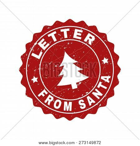 Grunge Round Letter From Santa Stamp Seal With Fir-tree. Vector Letter From Santa Rubber Seal Imitat