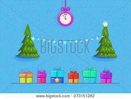 New Years concept, Christmas tree with toys, garland and gifts. 2019 hours chimes. poster